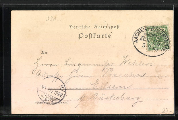 Lithographie Driburg, Gasthaus Teutoburger Hof, Ortsansicht 1