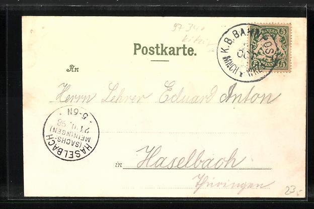 Lithographie Marktbreit, Rathaus & Thor, Kapelle, Weisser Thurm 1