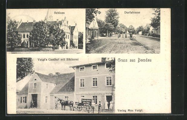 AK Beesdau, Voigts Gasthof mit Bäckerei, Schloss, Dorfstrasse 0