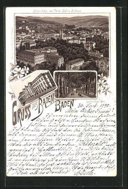 Vorläufer-Lithographie Baden-Baden, 1895, Ansicht vom Landesbad, Blick in die Lichtentahler Allee, Fürst Solms Schloss 0