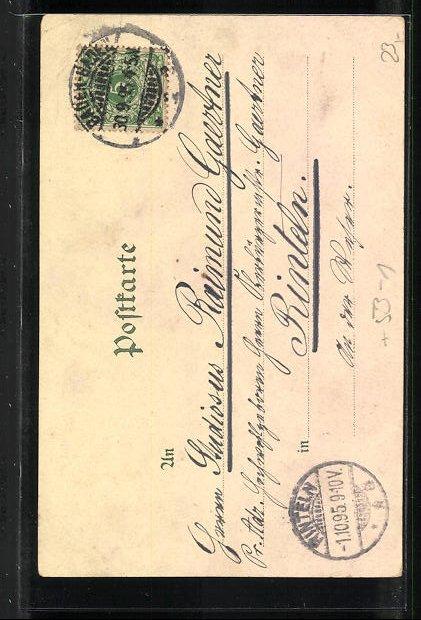 Vorläufer-Lithographie Baden-Baden, 1895, Ansicht vom Landesbad, Blick in die Lichtentahler Allee, Fürst Solms Schloss 1