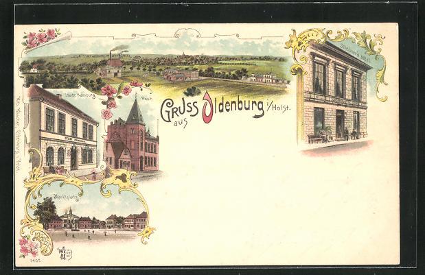 Lithographie Oldenburg / Holst., Scheibners Hotel, Hotel Stadt Hamburg, Post, Marktplatz 0