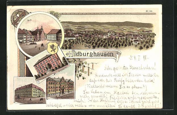 Lithographie Hildburghausen, Bahnmeister-Schule, Markt, Elektro-Technikum 0