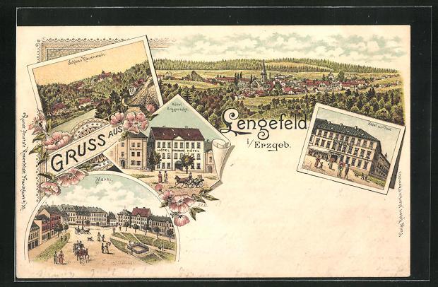 Lithographie Lengefeld / Erzgeb., Hotel Erbgericht, Hotel zur Post, Markt 0