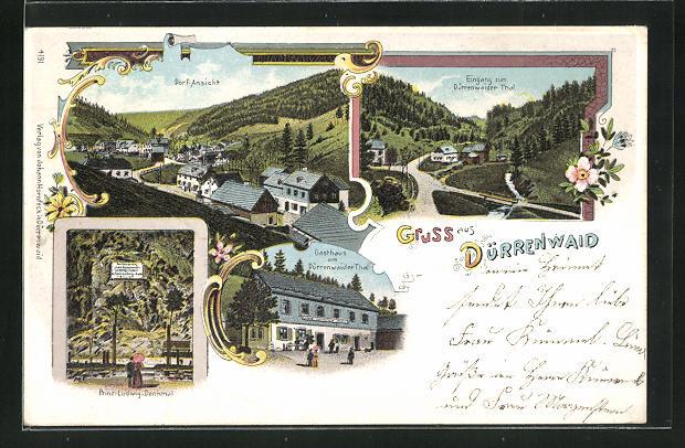 Lithographie Dürrenwaid, Gasthaus zum Dürrenwaider Thal, Ortsansicht, Prinz Ludwig-Denkmal 0