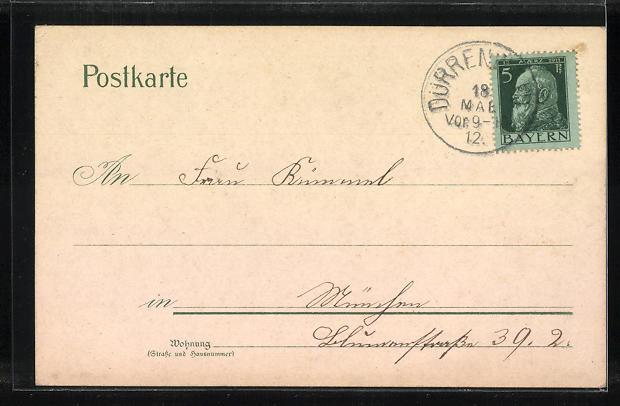 Lithographie Dürrenwaid, Gasthaus zum Dürrenwaider Thal, Ortsansicht, Prinz Ludwig-Denkmal 1