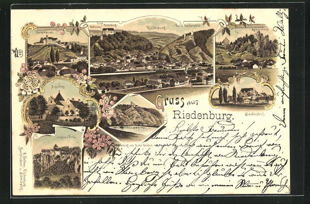Lithographie Riedenburg, Schloss, Eggersberg, Sandersdorf, Rosenburg 0