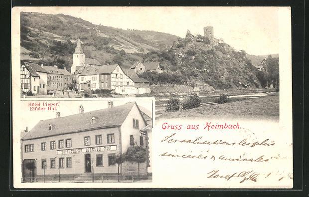 AK Heimbach, Hotel Pieper und Eifeler Hof, Teilansicht 0