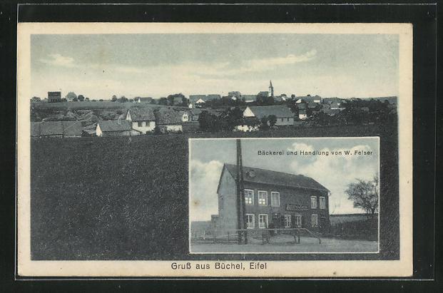 AK Büchel / Eifel, Bäckerei und Handlung von W. Feiser, Ortsansicht 0