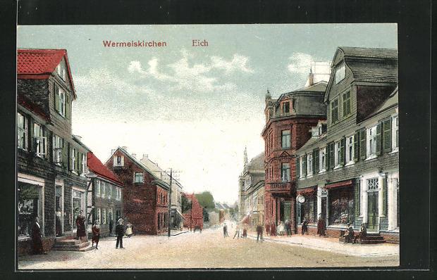 AK Wermelskirchen, Strasse am Eich mit Geschäften und Passanten 0