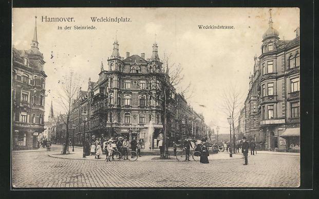 AK Hannover, Wedekindstrasse mit Blick in die Steinriede und Wedekindstrasse, Springbrunnen 0