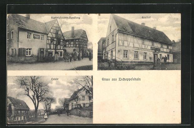 AK Zschoppelshain, Gasthaus, Materialwarenhandlung, Ortspartie 0