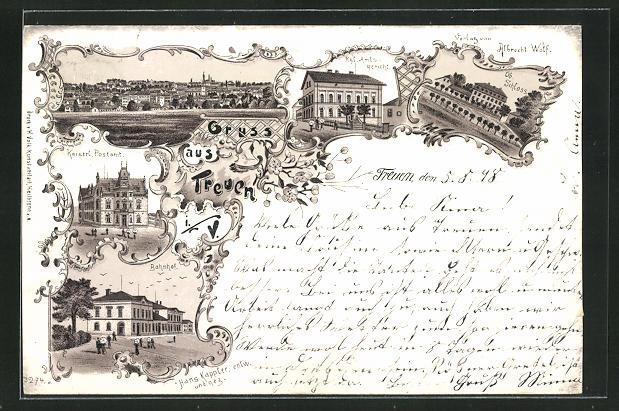 Lithographie Treuen, Bahnhof, Kaiserl. Postamt, Amtsgericht, Schloss 0