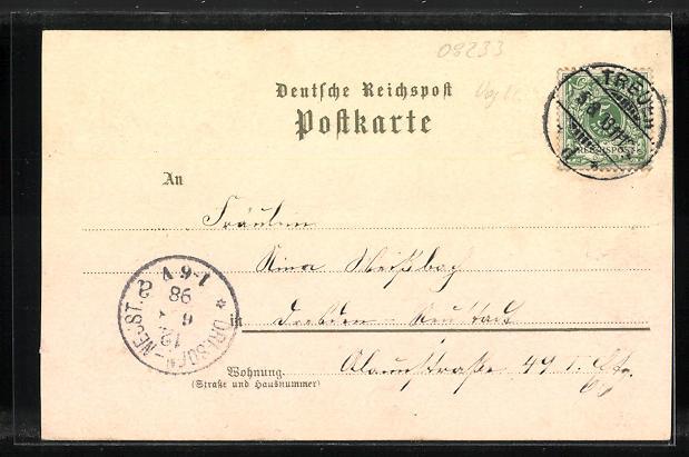 Lithographie Treuen, Bahnhof, Kaiserl. Postamt, Amtsgericht, Schloss 1