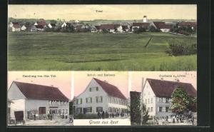 AK Rast, Gasthaus zum Löwen, Geschäft von Otto Velt, Schule, Rathaus, Totalansicht