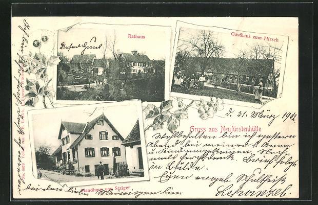 AK Neufürstenhütte, Gasthaus zum Hirsch, Rathaus, Handlung von Staiger 0