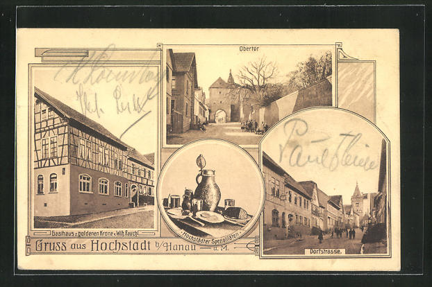 AK Hochstadt, Gasthaus zur goldenen Krone, Dorfstrasse, Obertor 0
