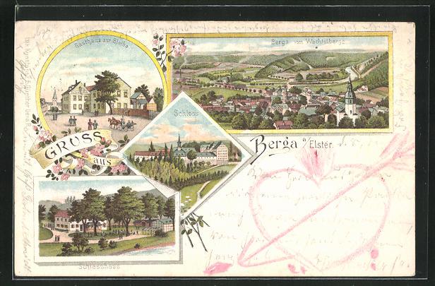 Lithographie Berga / Elster, Gasthaus zur Bleibe, Schlesshaus, Schloss 0