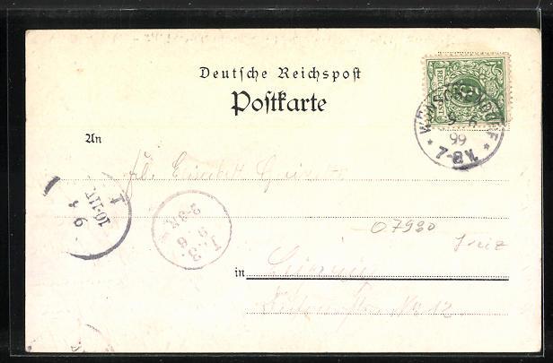 Lithographie Berga / Elster, Gasthaus zur Bleibe, Schlesshaus, Schloss 1