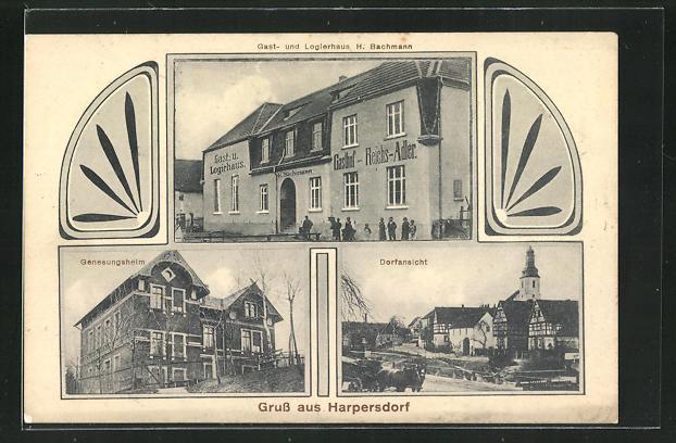 AK Harpersdorf, Gasthaus H. Bachmann, Genesungsheim, Ortsansicht 0