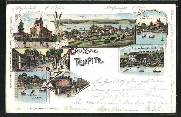 Lithographie Teupitz, Gasthaus v. W. Marwitz, Gasthaus Frau Mende, Marktplatz 0