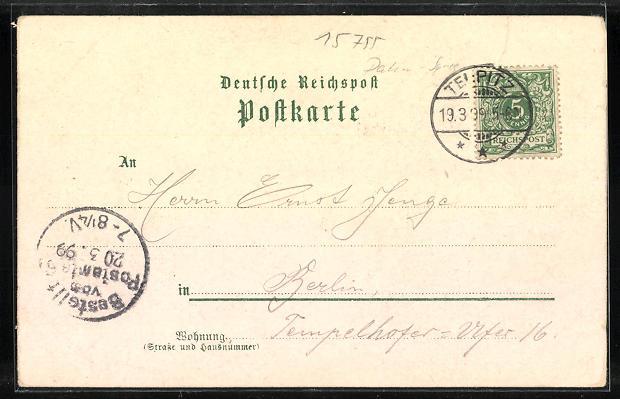 Lithographie Teupitz, Gasthaus v. W. Marwitz, Gasthaus Frau Mende, Marktplatz 1
