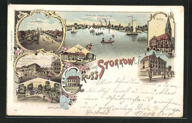 Lithographie Storkow i. M., Hotel Stadt Berlin, Schützenhaus, Amtsgericht, Marktplatz 0