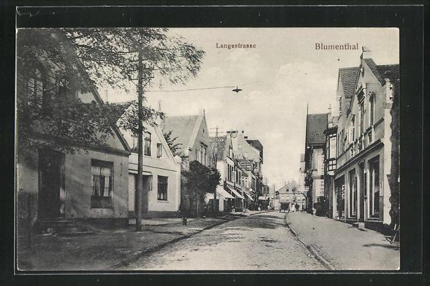 AK Blumenthal, Langestrasse mit Geschäften und Wohnhäusern 0