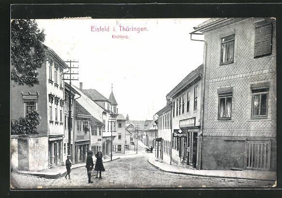 AK Eisfeld i. Thüringen, Strassenpartie am Kirchberg, Drogerie 0