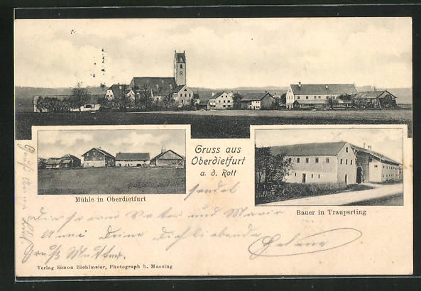 AK Oberdietfurt a. d. Rott, Blick zur Mühle, Bauer in Trauperting, Ortsansicht 0