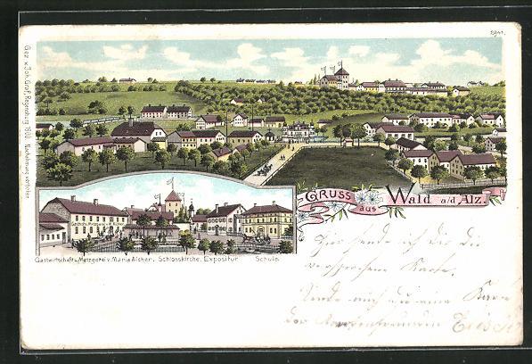 Lithographie Wald a. d. Alz, Gasthaus und Metzgerei von Maria Aicher mit Schlosskirche und Expositur 0