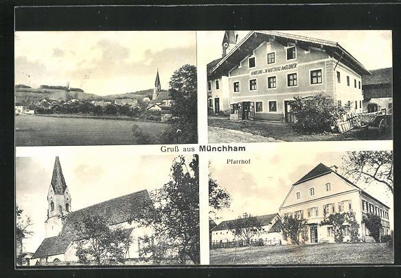 AK Münchham, Handlung von Matthias Angloher, Pfarrhof, Kirche 0