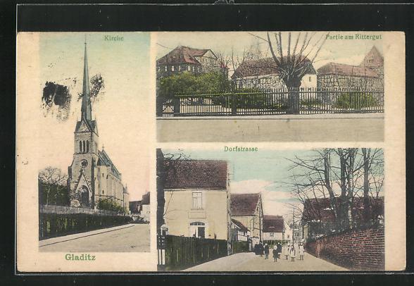 AK Gladitz, Partie am Rittergut, Blick in die Dorfstrasse 0