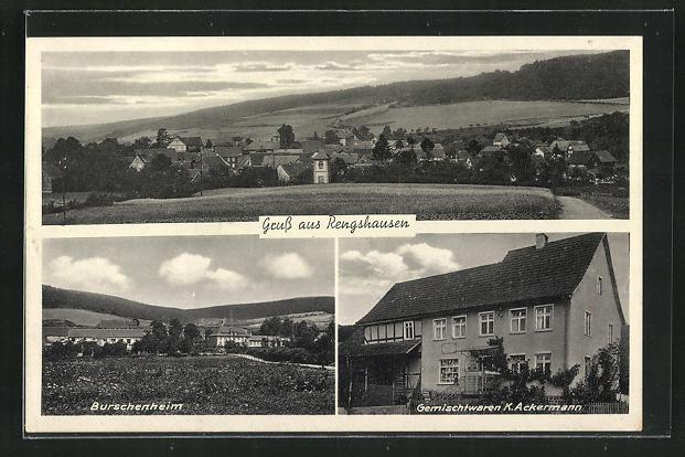 AK Rengshausen, Gemischtwaren K. Ackermann, Burschenheim, Ortsansicht 0