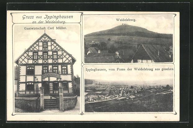 AK Ippinghausen a. d. Weidelsburg, Gasthaus Carl Müller, Blick zur Weidelsburg 0