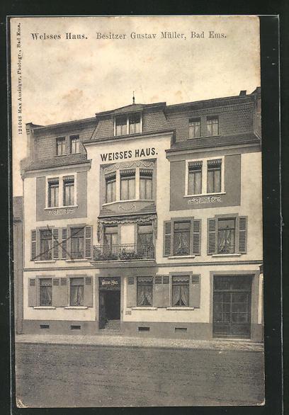 AK Bad Ems, Hotel Weisses Haus von G. Müller 0
