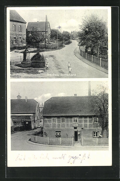 AK Brausswig, Schuhmacherei Richard Bohne, Strassenpartie am Kriegerdenkmal 0