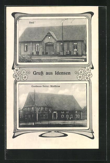 AK Idensen, Gasthaus Heinrich Matthias, Saal 0