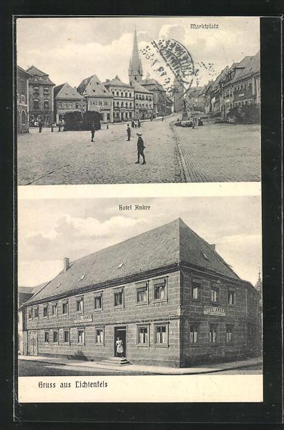 AK Lichtenfels, Hotel Anker, Blick auf den Marktplatz 0