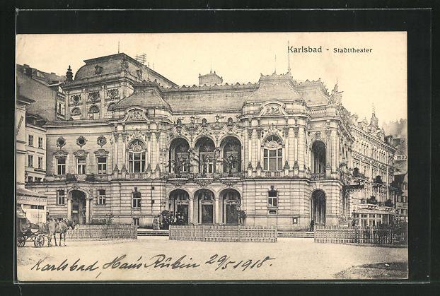 AK Karlsbad, Stadttheater 0