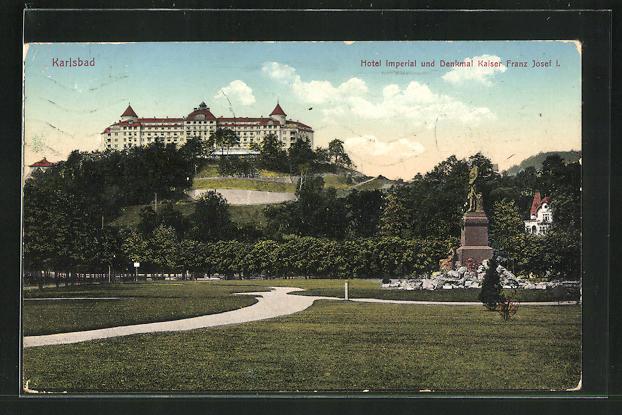 AK Karlsbad, Hotel Imperial und Denkmal Kaiser Franz Josef I. 0