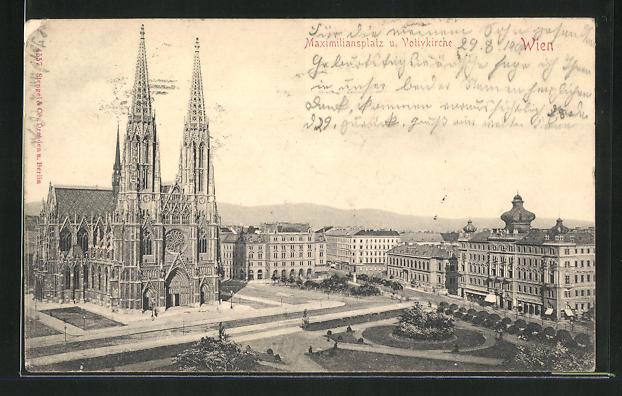 AK Wien, Maximiliansplatz u. Votivkirche 0