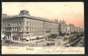 AK Wien, Hotel de France, Währingerstrasse und Schottenring