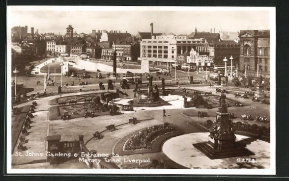 AK Liverpool, St. John`s Gardens & Entrance to Mersey Tunnel 0