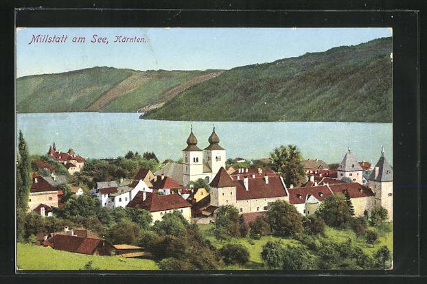 AK Millstatt am See, Ortsansicht mit Kirche 0