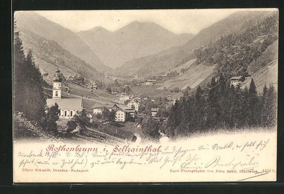 AK Rothenbrunn i. Sellrainthal, Ortsansicht mit Kirche 0