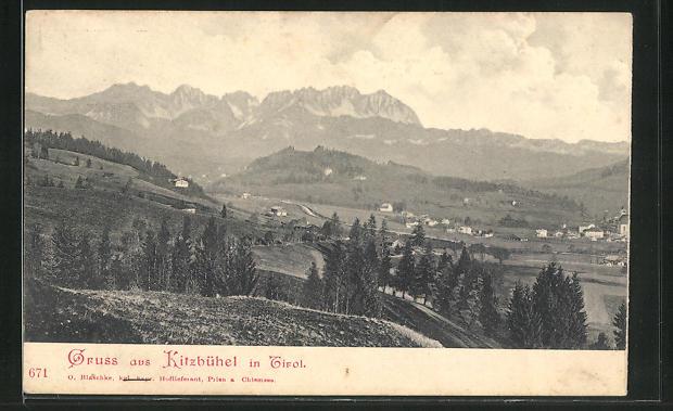 AK Kitzbühel, Ortsansicht aus der Vogelschau 0