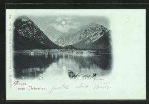 Mondschein-AK Pertisau, Ruderboot auf dem Achensee
