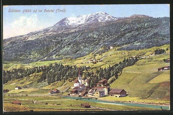 AK Sölden / Tirol, Ortsansicht mit Kirche 0