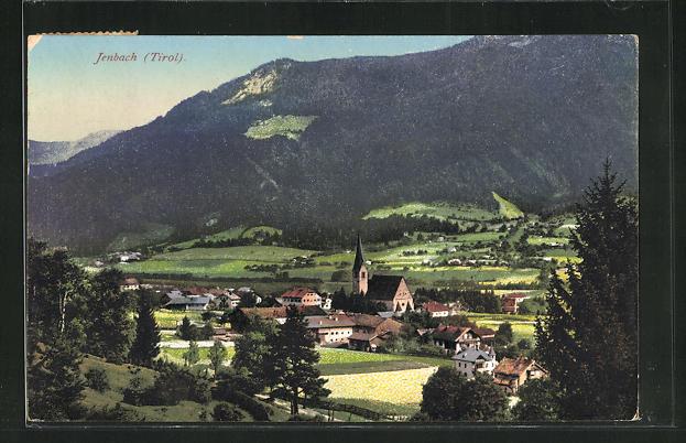 AK Jenbach / Tirol, Ortsansicht mit Kirche 0